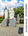 Small photo of VIENNA, AUSTRIA - JUNE 24, 2016: Monument Against War and Fascism, which commemorates the dark years when Austria came under Nazi rule (1938-1945), sculptor Alfred Hrdlicka.