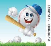 baseball ball illustration... | Shutterstock .eps vector #491018899