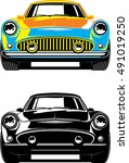 vintage car front view. black... | Shutterstock .eps vector #491019250