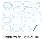 empty speech bubbles. sketch... | Shutterstock .eps vector #491024608
