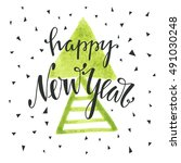 happy new year hand drawn... | Shutterstock .eps vector #491030248