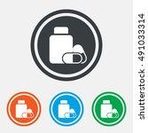medical pills bottle sign icon. ... | Shutterstock .eps vector #491033314
