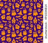halloween seamless pattern in... | Shutterstock .eps vector #491034814