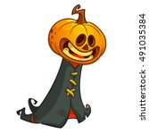 halloween pumpkin head ghost in ... | Shutterstock .eps vector #491035384