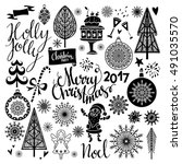 christmas holiday icons. merry... | Shutterstock .eps vector #491035570