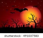 halloween night background with ... | Shutterstock .eps vector #491037583