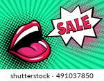 sexy open female mouth... | Shutterstock .eps vector #491037850