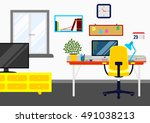 graphic work room interior... | Shutterstock .eps vector #491038213