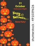 flyer happy halloween  orange...   Shutterstock .eps vector #491039626