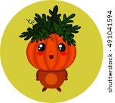 baby pumpkin halloween... | Shutterstock .eps vector #491041594
