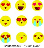valentines day emoticon icons ... | Shutterstock .eps vector #491041600