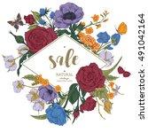 vintage floral vector discount... | Shutterstock .eps vector #491042164