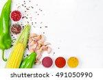 detox food   drink healthy... | Shutterstock . vector #491050990