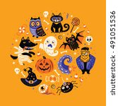 halloween poster or greeting... | Shutterstock .eps vector #491051536