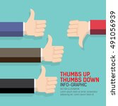 thumbs up and thumbs down flat...   Shutterstock .eps vector #491056939