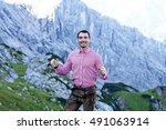 a traditional bavarian man on... | Shutterstock . vector #491063914