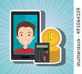 smartphone man money coins | Shutterstock .eps vector #491064109
