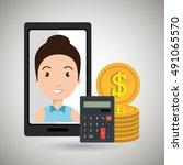 smartphone woman money coins | Shutterstock .eps vector #491065570