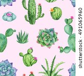 cactus and succulent watercolor ... | Shutterstock . vector #491065960