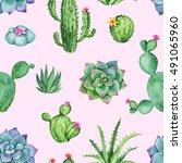 cactus and succulent watercolor ... | Shutterstock . vector #491065960