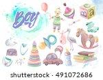 colorful set of children's... | Shutterstock . vector #491072686