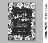 wedding invitation card with... | Shutterstock .eps vector #491073460