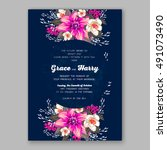 wedding invitation card with... | Shutterstock .eps vector #491073490