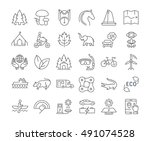 set vector line icons in flat... | Shutterstock .eps vector #491074528