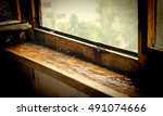 rain. raindrops breaking on old ... | Shutterstock . vector #491074666