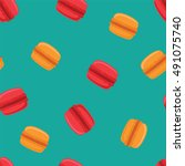 seamless pattern with macaroon... | Shutterstock .eps vector #491075740