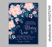 romantic pink peony bouquet... | Shutterstock .eps vector #491075749
