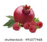 whole pomegranate raspberry... | Shutterstock . vector #491077468