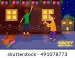 kids decorating house for... | Shutterstock .eps vector #491078773