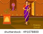 lady with diya celebrating... | Shutterstock .eps vector #491078800