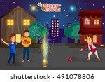 kids enjoying firecracker... | Shutterstock .eps vector #491078806