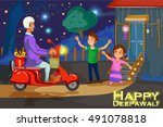 kids enjoying firecracker... | Shutterstock .eps vector #491078818