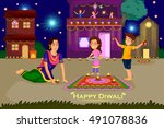 woman making rangoli for diwali ... | Shutterstock .eps vector #491078836