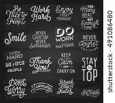 hand drawn lettering slogans. | Shutterstock . vector #491086480
