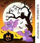 halloween theme with bats 1  ... | Shutterstock .eps vector #491088376