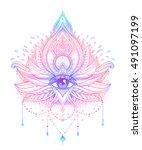 vector ornamental lotus flower  ... | Shutterstock .eps vector #491097199