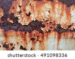 rusted white painted metal wall.... | Shutterstock . vector #491098336