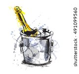 colored hand sketch champagne....   Shutterstock .eps vector #491099560