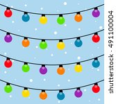 christmas lights garland ... | Shutterstock .eps vector #491100004