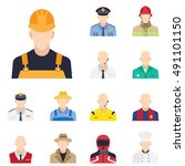 worker icon in flat style with... | Shutterstock .eps vector #491101150