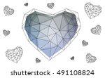 blue heart isolated on white... | Shutterstock .eps vector #491108824