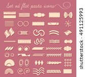 set of forty flat pasta shapes. ... | Shutterstock .eps vector #491125993