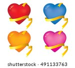 illustration with hearts and... | Shutterstock .eps vector #491133763