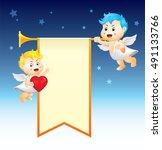 angel with trumpet   happy... | Shutterstock .eps vector #491133766
