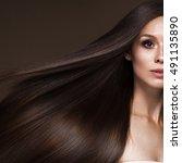 beautiful brunette girl in move ... | Shutterstock . vector #491135890