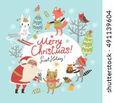 christmas card with santa and... | Shutterstock .eps vector #491139604